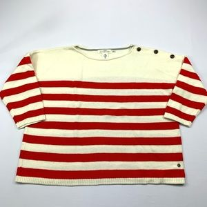 H&M Sweater 3/4 Sleeve Striped Button Shoulder